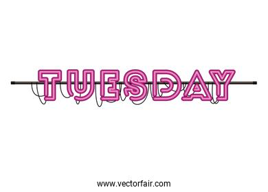 tuesday label in neon light isolated icon