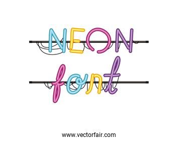 neon font label isolated icon