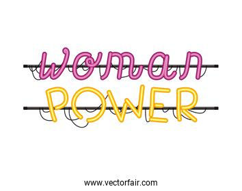 woman power label in neon light isolated icon