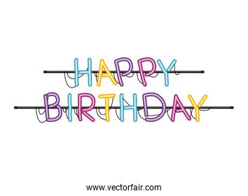 happy birthday label in neon light isolated icon