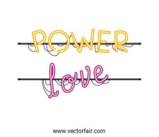 power love label in neon light isolated icon
