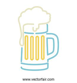 glass with beer in neon light icon