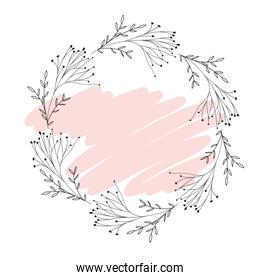 garland with flowers and leafs isolated icon garland with flowers and leafs isolated icon