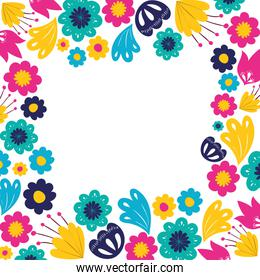 pattern colorful flowers isolated icon