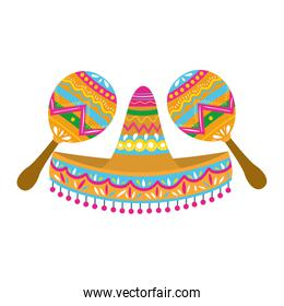 mexican hat with maraca isolated icon
