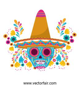 mexican skull with hat isolated icon