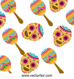 pattern of mexican skull with maraca icon
