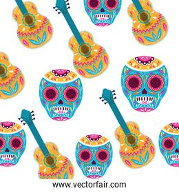 pattern of mexican skull with guitar icon