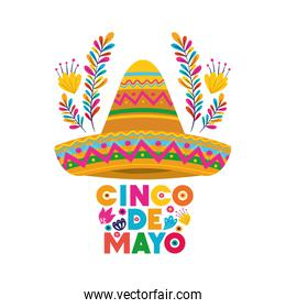 cinco de mayo label with hat isolated icon
