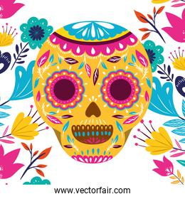 mexican skull isolated icon vector illustration