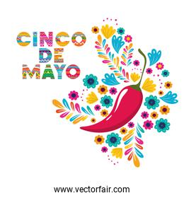 cinco de mayo label with peppers icon