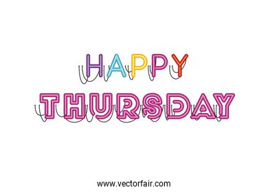happy thursday sign in neon light icon