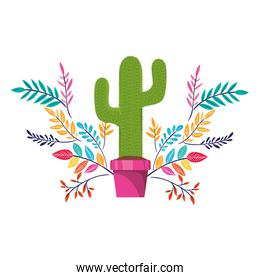 cactus with pot and flowers isolated icon