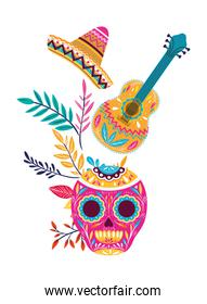 mexican skull with guitar icon