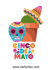 cinco de mayo label with cactus and skull