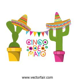 cinco de mayo label with cactus isolated icon
