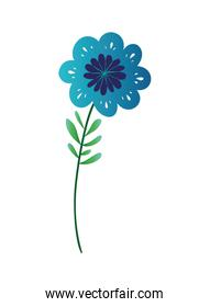 flower with leafs isolated icon