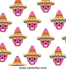 pattern of mexican skull isolated icon