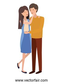 youth smiling couple character vector