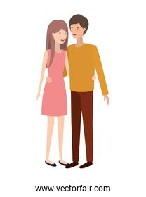 isolated young smiling couple character vector