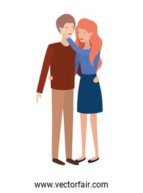 isolated young smiling  couple illustration vector