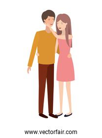 isolated young smiling couple representation vector