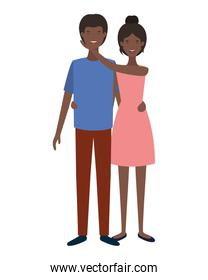 isolated youth smiling couple character vecto