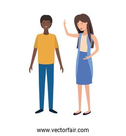 isolated young couple illustration vector  design