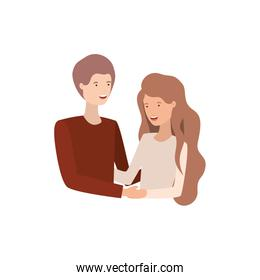 isolated young couple character