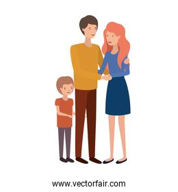 parents couple with son avatar