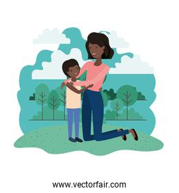 woman with son avatar character