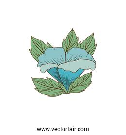 beautiful flowers with leafs isolated icon
