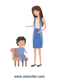 woman with baby sitting on chair character