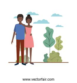 young couple with landscape avatar character