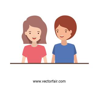 youth smiling couple vector design illustration