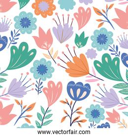 pattern flowers with leafs isolated icon