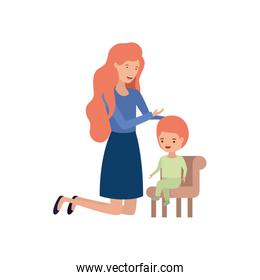woman with baby sitting on chair avatar character