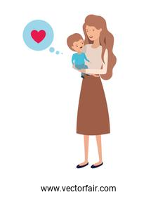 woman with baby and speech bubble avatar character