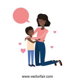 woman with son and speech bubble avatar character