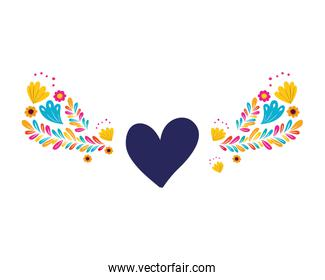 garland with flowers and heart isolated icon