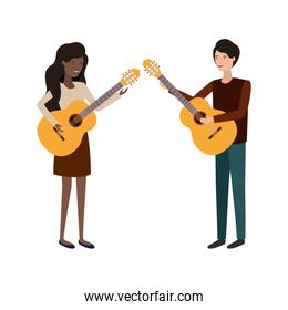 couple with musical instrument isolated icon