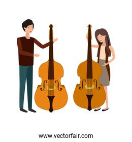 couple with musical instruments avatar character
