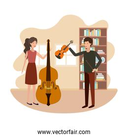 couple with musical instruments in living room