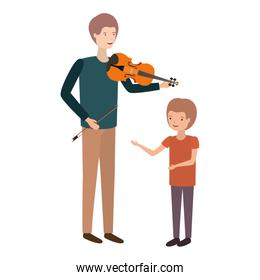 man with son and violin avatar character