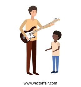 man with son and electric guitar character
