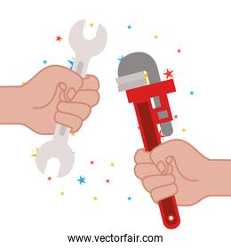 hand with plumber key and wrench icons