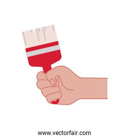 hand with paint brush tool isolated icon