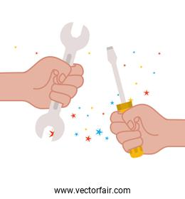 hand with wrench and screwdriver tool icon