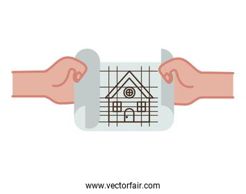 hand with construction plan isolated icon