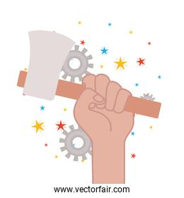 hand with ax tool isolated icon